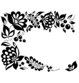 black-and-white flowers and leaves vector image vector image