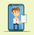 businessman from smartphone screen giving online vector image