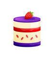 cake with icing-sugar fresh strawberries sweet vector image