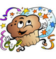 cartoon a happy party muffin vector image