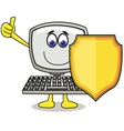 cartoon computer with shield vector image vector image