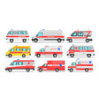 collection of ambulance service cars emergency vector image vector image