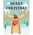 cute deer in hat in vector image