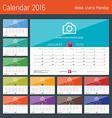 Desk Calendar 2016 Print Template Week Starts vector image