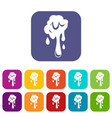 dripping slime icons set flat vector image vector image