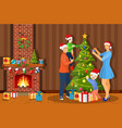family decorating christmas tree vector image vector image