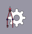 flat icon design collection gear and tool vector image vector image