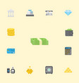 flat icons accounting cash stack till and other vector image vector image