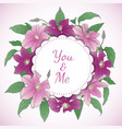 floral wreath with clematis flowers vector image vector image
