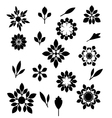 Flower and leaves silhouettes set vector image vector image