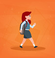 girl pupil walking to school schoolgirl small vector image vector image