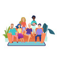 happy friends watching television together sitting vector image vector image