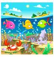 Happy marine family under the sea vector image vector image
