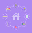 home interior icons set lines vector image vector image