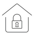 home lock thin line icon real estate and home vector image vector image
