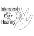 international day for ear and hearing contour of vector image vector image
