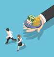 isometric business people running away from loan vector image