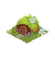 isometric cartoon fantasy hobbit village house vector image vector image