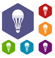 led bulb icons set vector image vector image