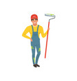 male painter in uniform with roller paint house vector image vector image