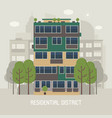 modern house in residential district vector image vector image