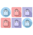 outlined icon of shopping bag with parallel and vector image