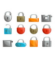 padlock icon set in flat design vector image vector image