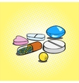Pills hand drawn pop art style vector image vector image