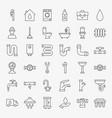 plumbing line icons set vector image