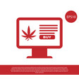 red computer monitor and medical marijuana or vector image vector image