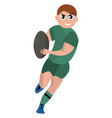 rugplayer with ball on white background vector image vector image