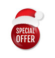 sale badge isolated with santa claus cap white vector image vector image