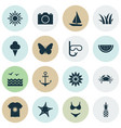 season icons set with grass swimsuits starfish vector image