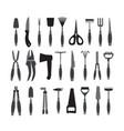 set garden tools vector image vector image