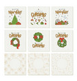 set greeting cards with gold lettering vector image