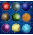 Set of cosmic planets in outer space vector image vector image