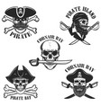 set of emblems with pirate skulls and weapon vector image