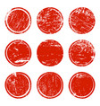 set of red grunge texture circles vector image vector image