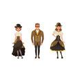 set stylish people wearing retro steampunk vector image vector image