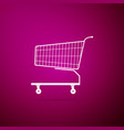 shopping cart icon isolated on purple background vector image vector image
