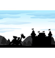 Silhouette scene of castle and dragon vector image vector image