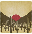 silhouettes cactus plant on background the vector image