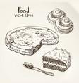 sketch pastries vector image