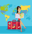 smiling brunette woman seating on suitcase vector image