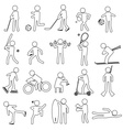 sport silhouettes black simple outline icons set vector image vector image