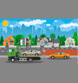 tow truck city road side assistance service vector image
