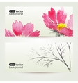 Two floral watercolor banners with pink flowers vector image vector image