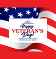 usa flag with happy veteran day honoring card vector image
