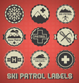 Vintage Ski Patrol Labels and Icons vector image vector image