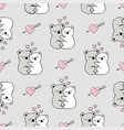 seamless pattern with cute animals and hearts vector image